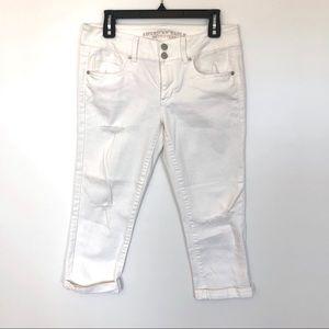 American Eagle White Artist Crop Jeans {8}